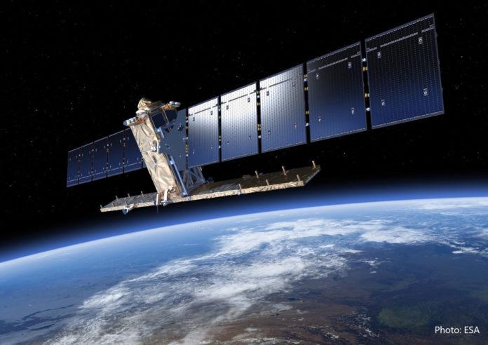 Hver sjette dag overflyver satellitten Sentinel-1 Danmark og scanner og registrerer terrænbevægelser, som sendes til SDFE. Foto: ESA.