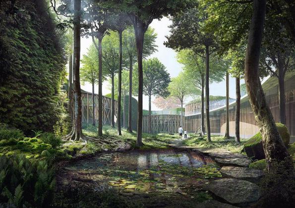 Det nye H.C. Andersens Hus i Odense. Visualisering: Kengo Kuma and Associates, Cornelius + Vöge og MASU Planning.
