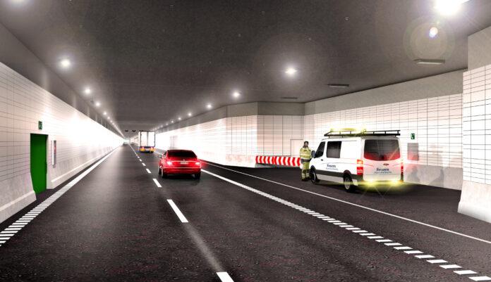 Nu starter byggeriet af Femern-forbindelsen. Visualisering af vejbanen i et specialelement: Femern A/S.