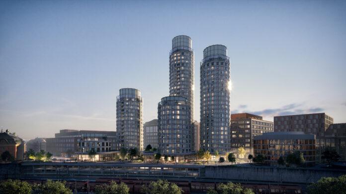 Postbyen vil med sine højhuse sætte præg på Københavns skyline. Visualisering: Postbyen.