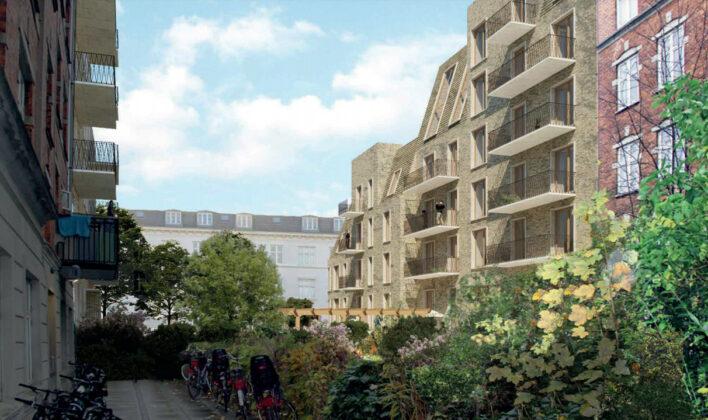 Ny plan for 38 boliger ved Kong Georgs Vej på Frederiksberg. Visualisering fra lokalplanen.